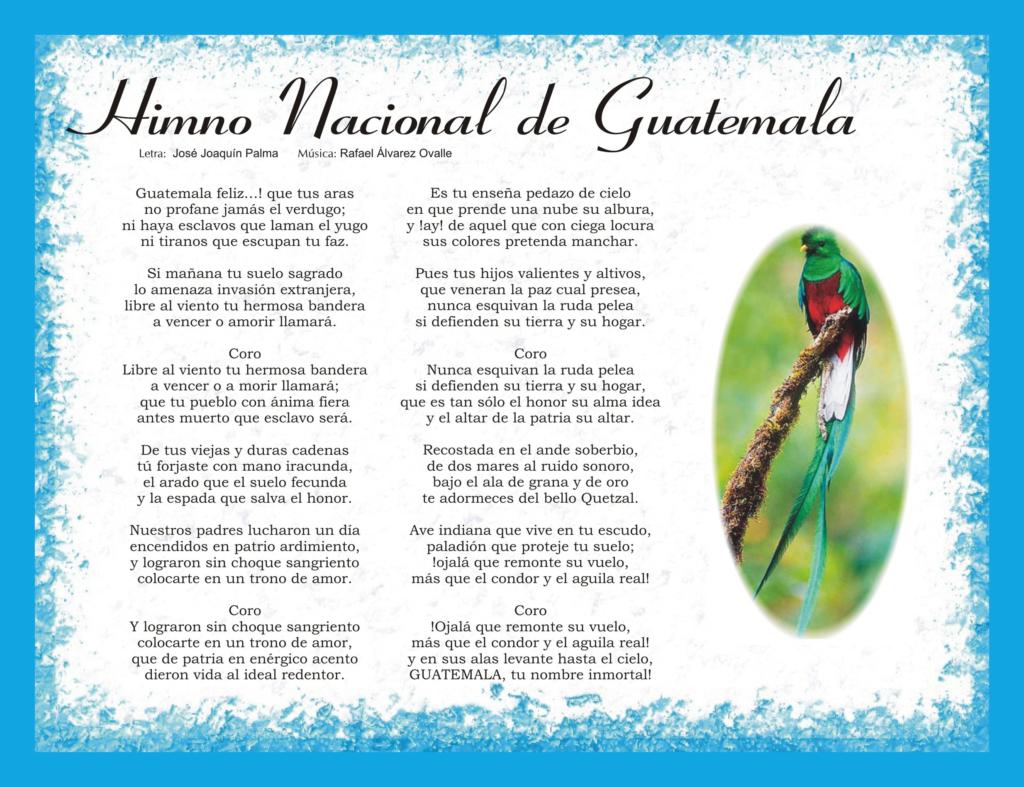 Letra del Himno Nacional de Guatemala para Imprimir